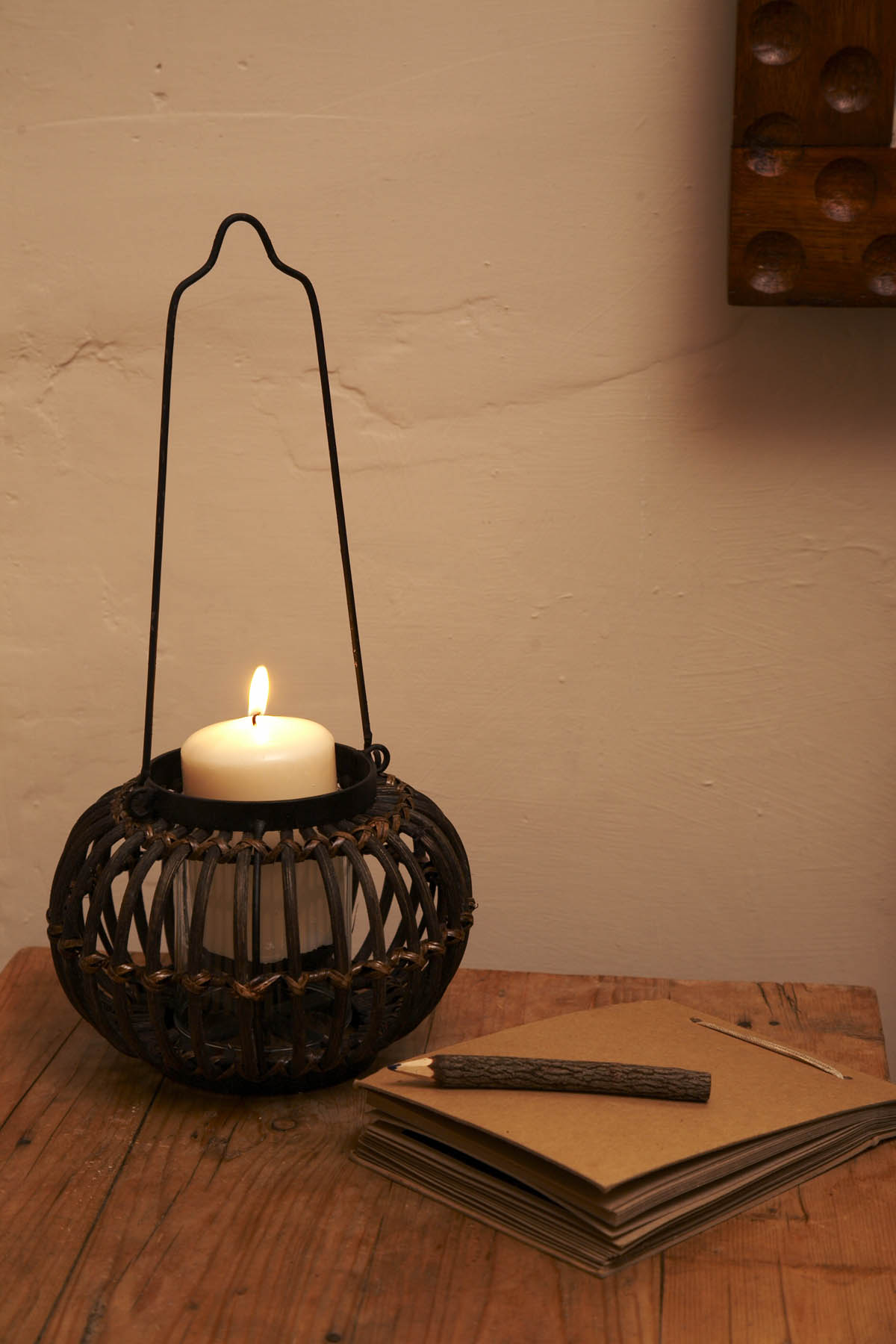 Pumpkin shaped hanging rattan candle holder