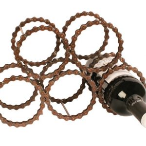 Reclaimed bicycle chain wine rack