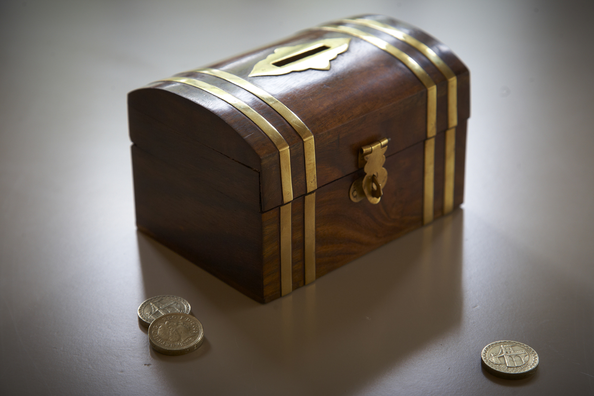 Fairtrade wooden money box with brass detail the camphor for Money saving box ideas