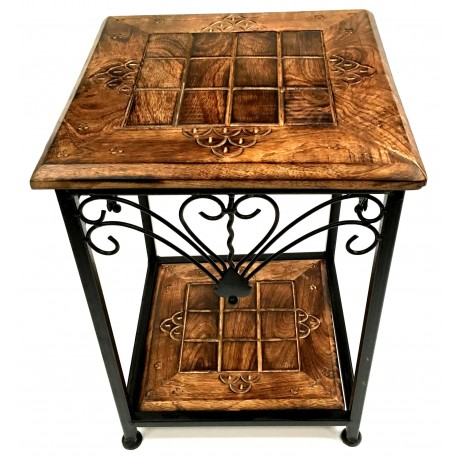 two-teir-table-iron-wood