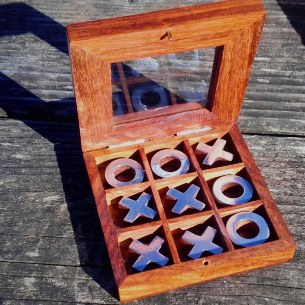 Wooden noughts crosses game