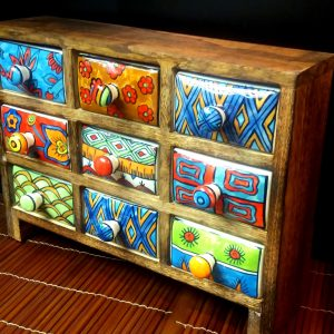 Large ceramic nine drawer chest