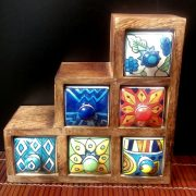 Set of six stepped ceramic spice drawers