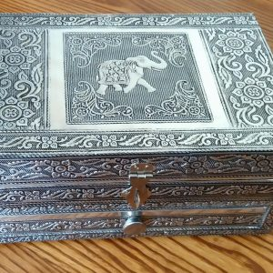 Silver metal jewellery box with elephant