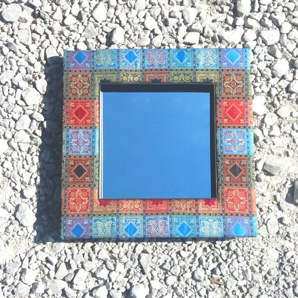 Recycled fabaric indian mirror