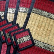 red and cream place mat set