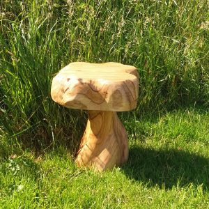 Wooden toadstool stool